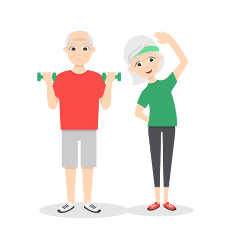 Vector active, happy and healthy senior couple: cartoon man with green dumbbells and woman doing exercises, isolated on white background. Flat vector style. Vettoriali