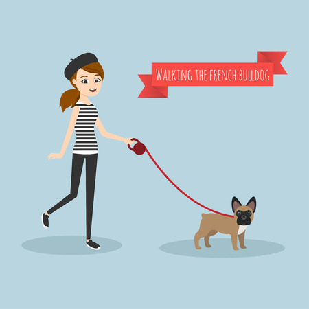 doggies: Vector illustration of young girl walking with her french bulldog. Illustration
