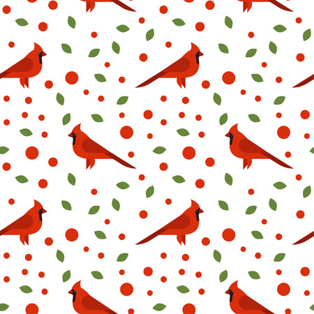 white bird: Vector seamless pattern with beautiful cardinals