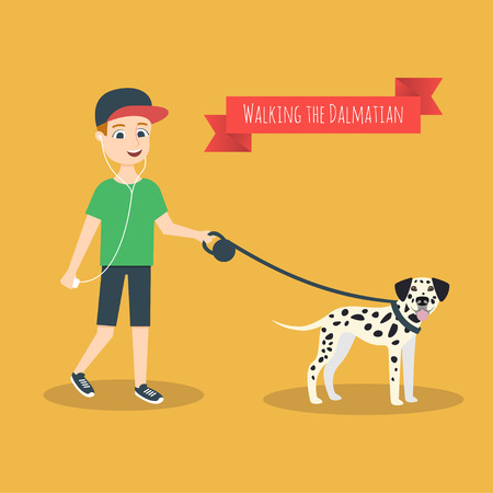dalmatian: Vector illustration of funny cartoon guy with mobile phone that walking with his Dalmatian.