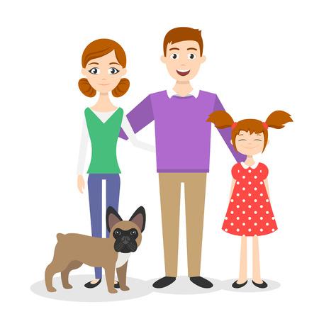 Vector familieportret. Moeder, vader, dochter en een Franse bulldog