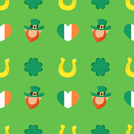 leprechaun hat: Vector seamless pattern with Four-leaf clover, golden horseshoe, heart shaped flag of Ireland and Leprechaun. Illustration