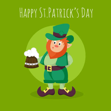 leprechaun hat: Vector Happy St.Patricks Day greeting card with Leprechaun holding a mug of fresh beer on green background. Illustration