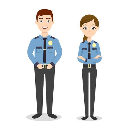 agent de sécurité: caractères vectorielles: deux jeunes officiers de police heureux, homme et femme.