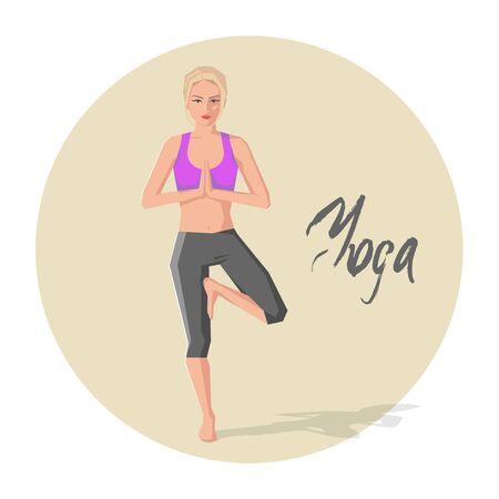 practicing: Vector illustration of Caucasian woman practicing yoga