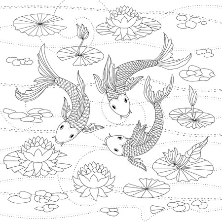 Vector monochrome illustration of japanese koi for coloring page
