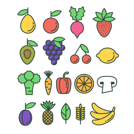 Set of vector colorful healthy eco fruit and vegetables icons Vetores