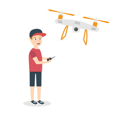 hovering: Vector illustration of young happy man with quadrocopter or drone. Air drone hovering in the sky.