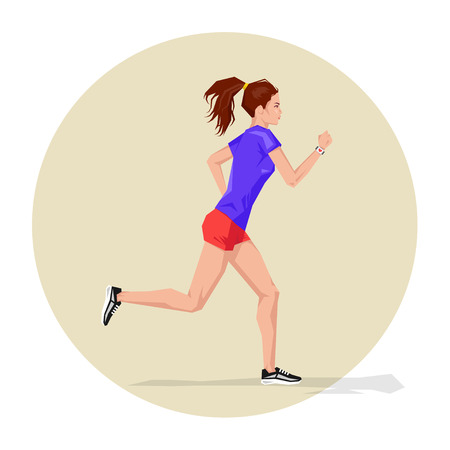 cardio workout: Vector illustration of Active sporty young running woman athlete with smart watch. Sport health fitness loss weight cardio training workout and wellness concept. Illustration
