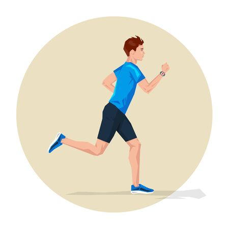 cardio workout: Vector illustration of Active sporty young running man athlete with smart watch. Sport health fitness loss weight cardio training workout and wellness concept.