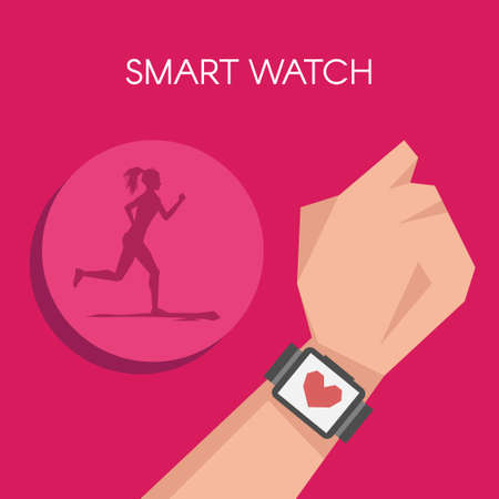 smart woman: Vector illustration of Fitness tracker or smart watch wearable technology. Silhouette of running woman.
