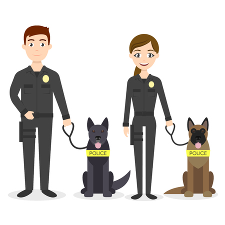 canine: Vector characters: two young police officers man and woman with their police dogs