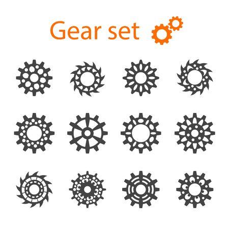 construction equipment: Set of vector machine gears or cogwheels. Gear wheels.
