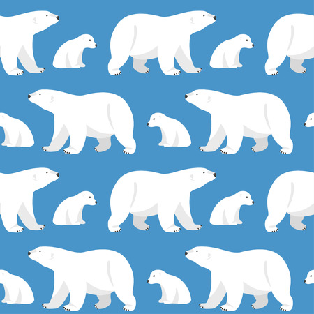 Vector seamless pattern with two polar bears, she-bear and teddy bear on blue background.