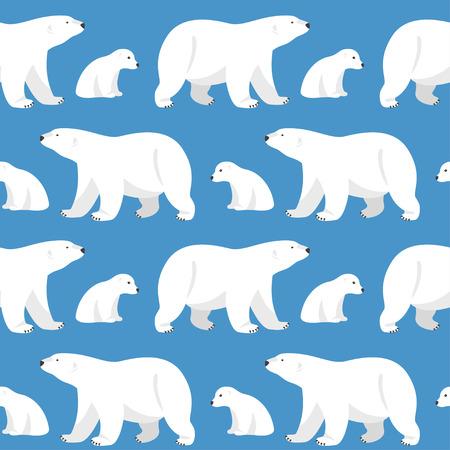 Wektor bez szwu z dwoma niedźwiedziami polarnymi, niedźwiedzica i misiu na niebieskim tle.