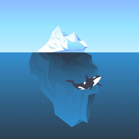Vector illustration iceberg in the sea and killer whale swimming in front of it