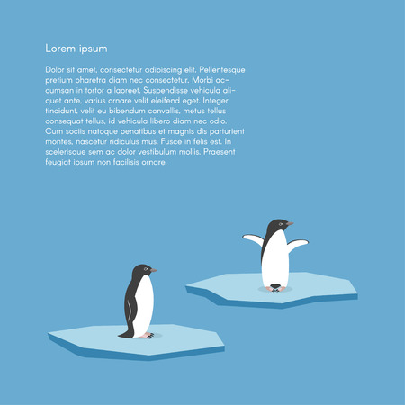 cold climate: Vector background with two penguins standing on stylized glacier. Cold climate Illustration