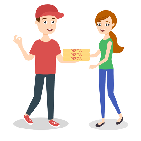 handing: Vector illustration of pizza delivery boy handing three pizza boxes to a beautiful girl. Illustration