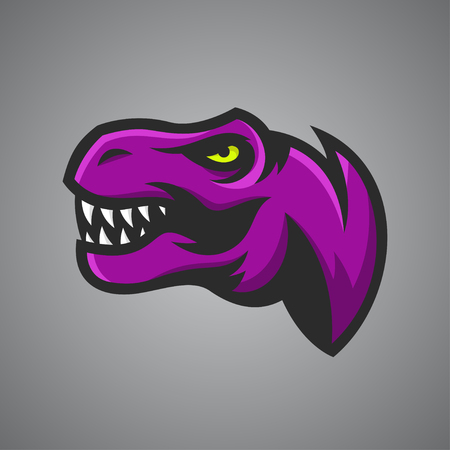 t background: Vector illustration of Tyrannosaurus Rex head. Sport mascot.