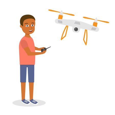 afro american: Vector illustration of young happy afro american man with quadrocopter or drone.