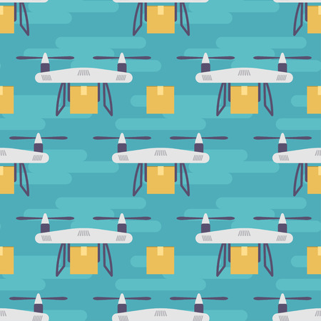 parcels: Vector seamless pattern with quadrocopters or drones carrying parcels.