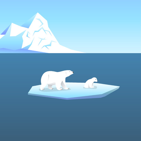 berg: Vector background with two polar bears, she-bear and teddy bear standing on stylized glacier in the open sea. Cold climate. Illustration