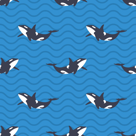 Vector seamless pattern with killer whales or orcas in the sea. Blue background with wavy lines.