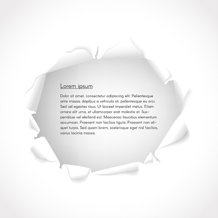 copy space: Vector background. Torn paper with copy space for text. Illustration