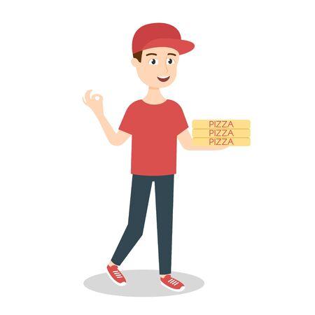 hombre rojo: Ilustraci�n del vector del repartidor de pizza entrega de tres cajas de pizza Vectores