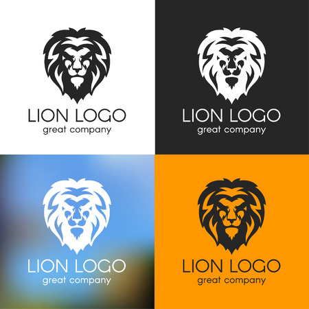 Vector black and white lion logo on various backgrounds