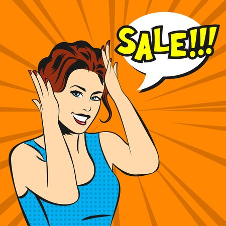 shocked: Vector pop art surprised woman face with smile and a sale speech bubble