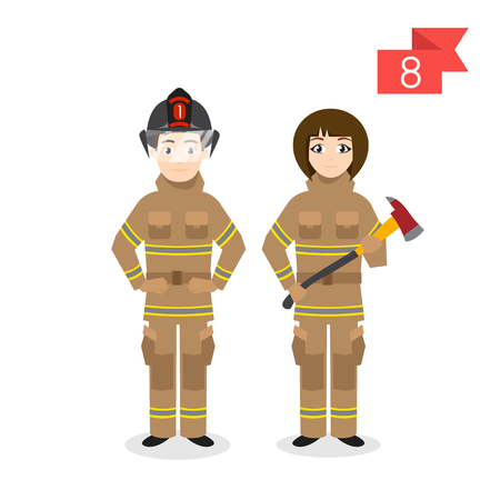 different jobs: Vector profession characters: man and woman. Firefighter. Illustration