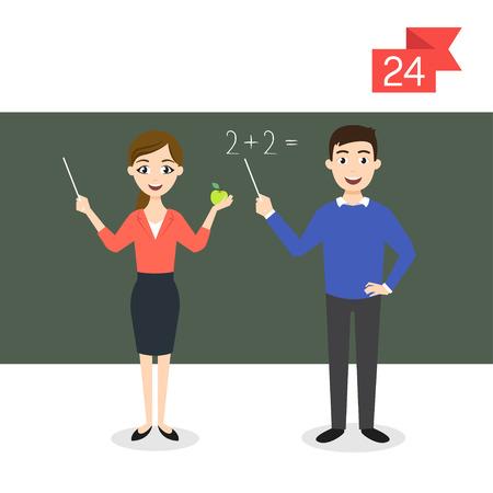 Vector profession personnages: l'homme et la femme. Professeur. Vecteurs