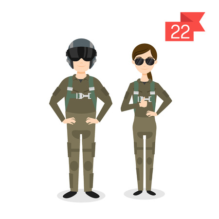 fighter pilot: Vector profession characters: man and woman. Fighter pilot.