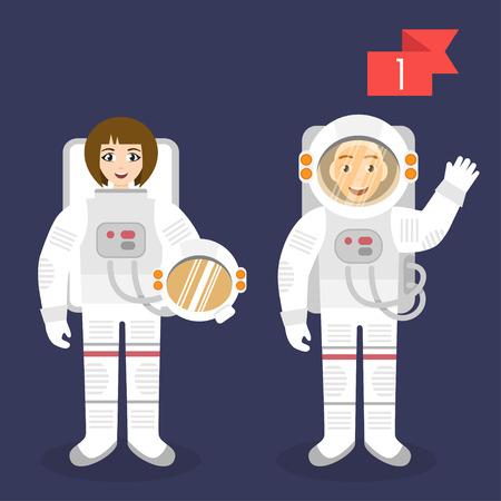 cartoon astronaut: Vector profession characters: man and woman. Astronaut. Illustration