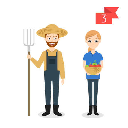 Vector profession characters: man and woman. Farmer.