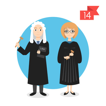 female judge: Vector profession characters: man and woman. Judge. Illustration