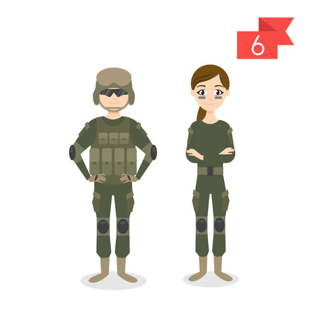 soldiers: Vector profession characters: man and woman. Soldier.