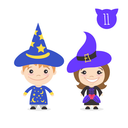 astronomer: Vector illustration of two happy cute kids characters. Boy in magician costume and a girl in witch costume. Illustration