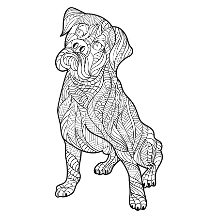 perro boxer: la mano en blanco y negro del vector dibujado la ilustración zentagle de perro boxer. Página para colorear con detalles altos aislados sobre fondo blanco.