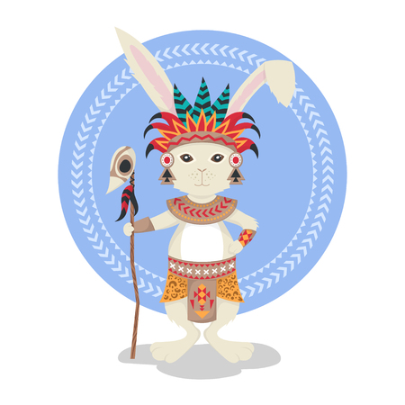 ceremonial: Vector illustration of rabbit or bunny shaman. Feathers, ceremonial clothes. Rabbit print for t-shirt or poster. Vector art. Native American Indian Aztec motifs. Illustration
