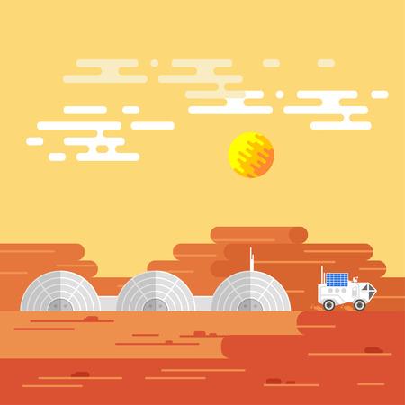 Vector illustration of human base on Mars in a daytime. Illustration
