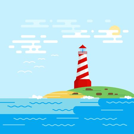 searchlight: Vector background with lighthouse, sea, waves in a daytime. Searchlight tower in ocean.