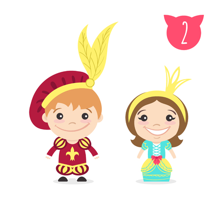 Vector illustration of two happy cute kids characters. Boy in prince costume and a girl in princess costume.