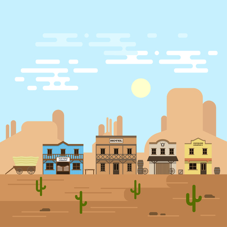Vector illustration of an old western town in a daytime. Saloon, hotel and other detailed buildings and objects. Wild West desert landscape background. Vettoriali