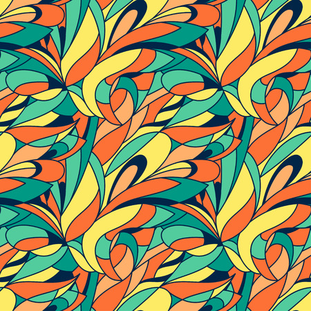 psychoanalysis: Vector seamless abstract hand-drawn colorful leaves floral pattern, wavy background, that can be used for wallpaper, pattern fills, web page background, surface textures.
