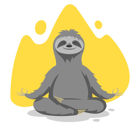 Vector illustration of happy cute sloth practicing yoga exercises. Vector print for t-shirt or poster design.