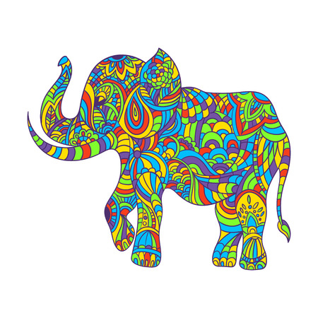 the details: Vector colorful hand drawn zentagle illustration of an elephant. Coloring page with high details isolated on white background. Boho style.