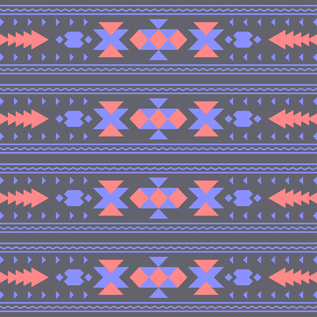 american indian aztec: Vector seamless abstract decorative ethnic tribal pattern or background. Native American Indian Aztec motifs