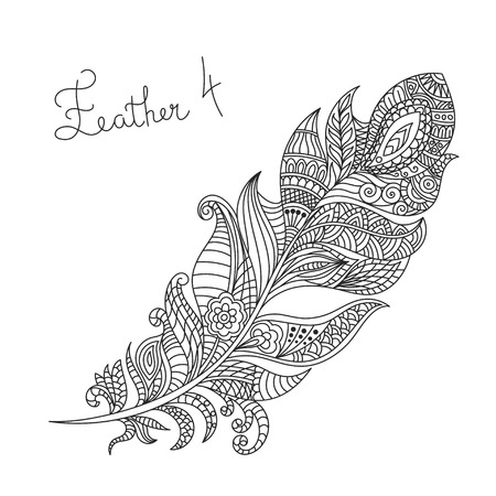 color page: Vector monochrome hand drawn zentagle illustration of feather. Coloring page with high details isolated on white background. Illustration